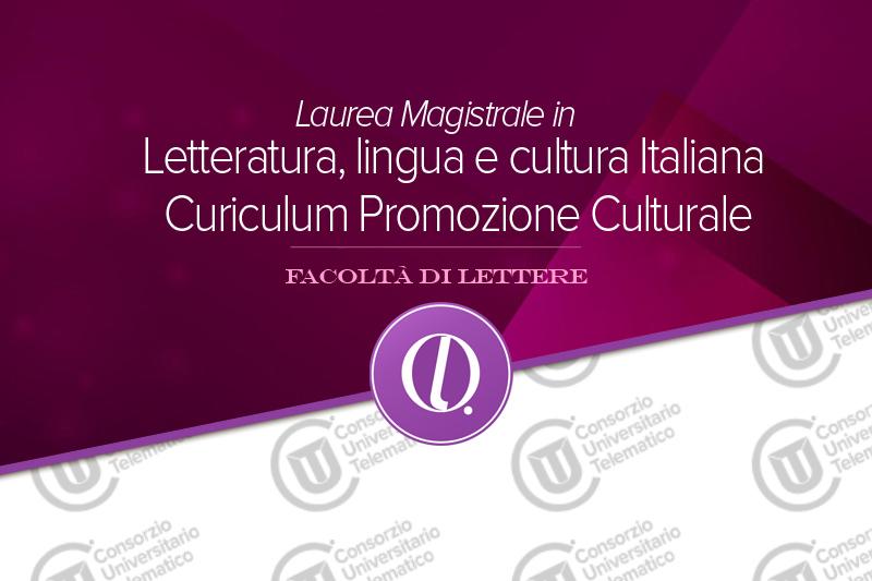 Laurea magistrale in lettere - Promozione Culturale
